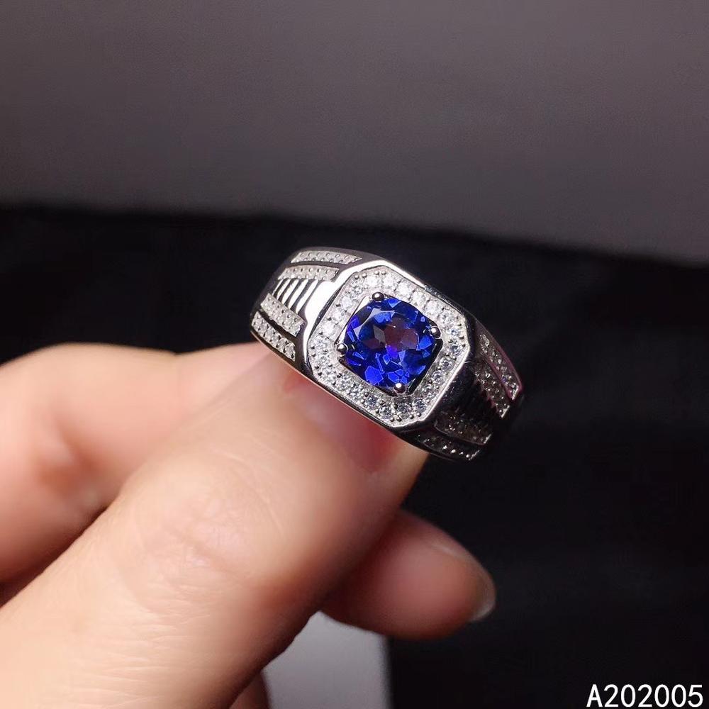 Kjjeaxcmy fine jewelry 925 prata esterlina incrustada natural azul topázio novo anel ajustável luxo suporte teste