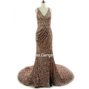 Blingbling Sequins Mermaid Evening Dresses vestidos formales V Neck Pleat Long Train Gold Color Prom Gownbs 2020