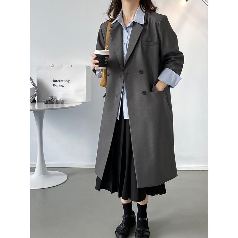 High-grade Design Silhouette Long Suit Jacket Women's Autumn Loose Blazer Jacket 1991