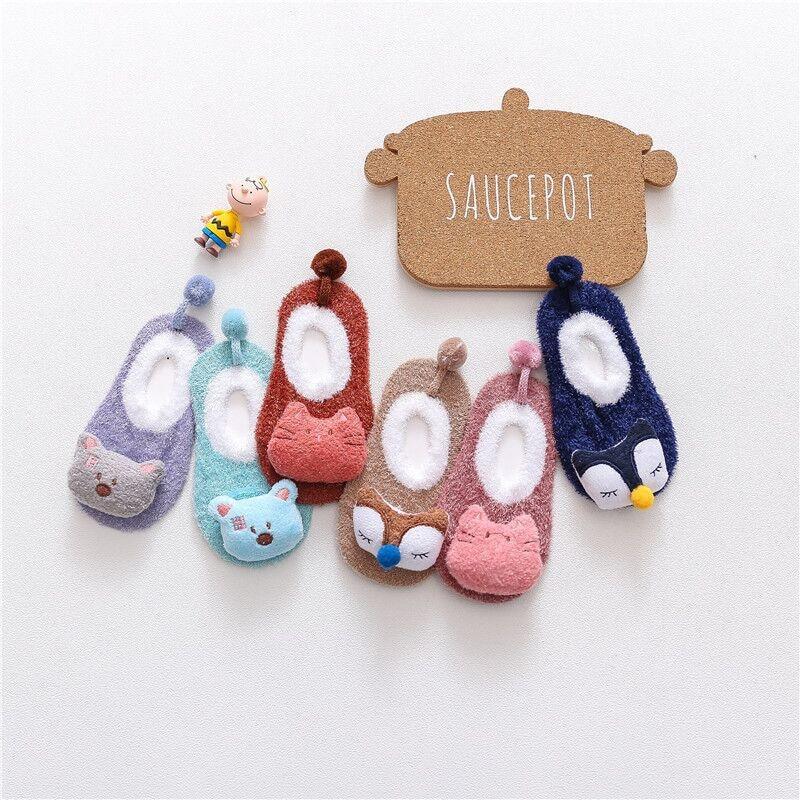 Детские осенне-зимние теплые носки, детские Нескользящие теплые носки, милые Мультяшные плюшевые толстые хлопковые носки для малышей