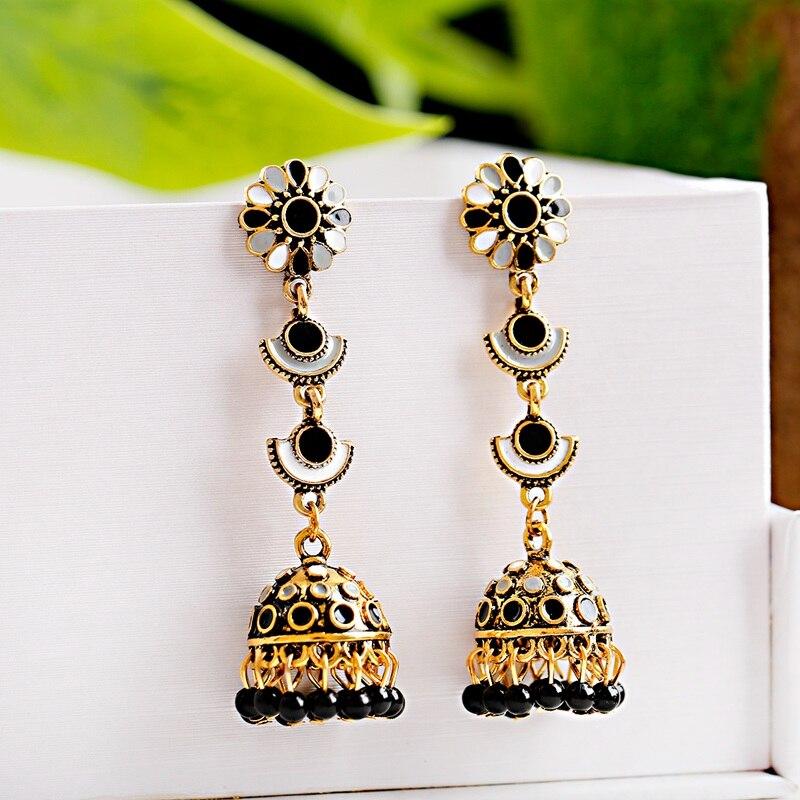 Rétro rouge fleur indien Bollywood Kundan Jhumka boucles doreilles pour femmes ethnique perles gland cloche gitane mode bijoux