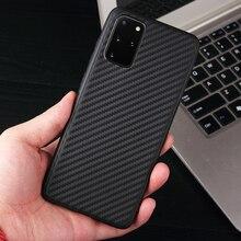 Coque arrière mince en Silicone mat en Fiber de carbone pour Samsung Galaxy S20 Ultra A71 A51 A50 A70 S10 S9 S8 Note 10 Plus