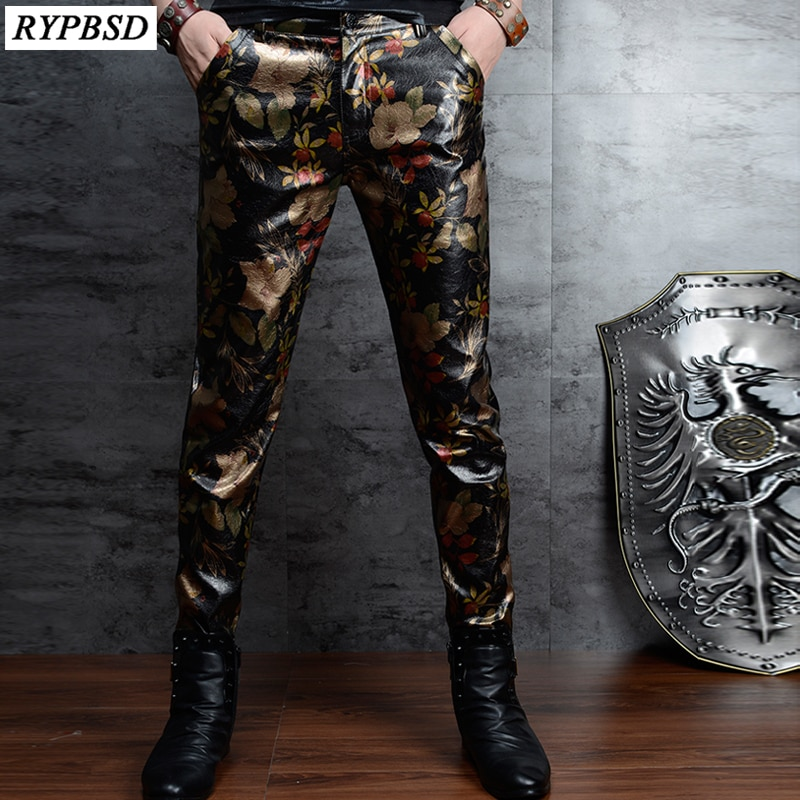 Floral Printed PU Skinny Leather Pants Men Korean Fashion Slim Nightclub Men Leather Pants Casual Mens Faux Leather Trousers skull zipper fly skinny faux leather pants