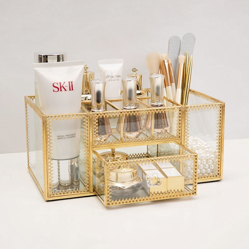 زجاج مستحضرات التجميل قلم للزينة منظم مجوهرات صندوق تخزين درج عرض MJ