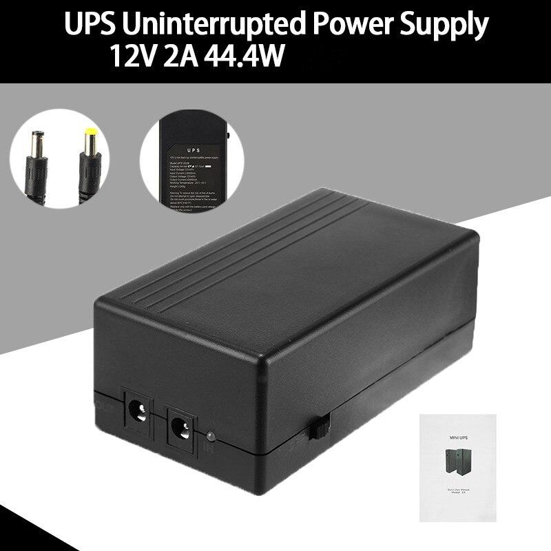 Fuente de alimentación de seguridad de 12V 2 a 44,4 W UPS fuente de alimentación de respaldo ininterrumpida Mini batería para enrutador de cámara