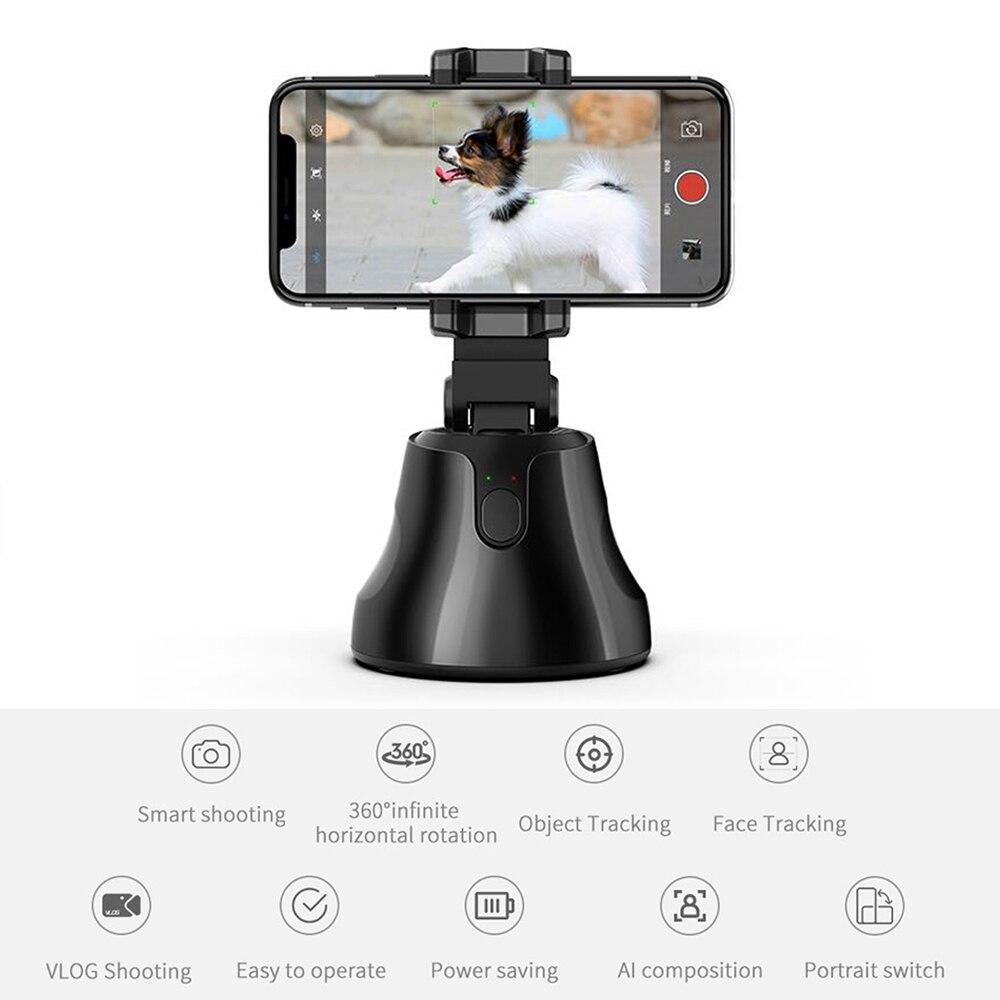 Soporte de seguimiento portátil para selfies soporte de seguimiento de objetos de 360 grados soporte de seguimiento de objetos de cara automático cámara de disparo inteligente montaje de teléfono