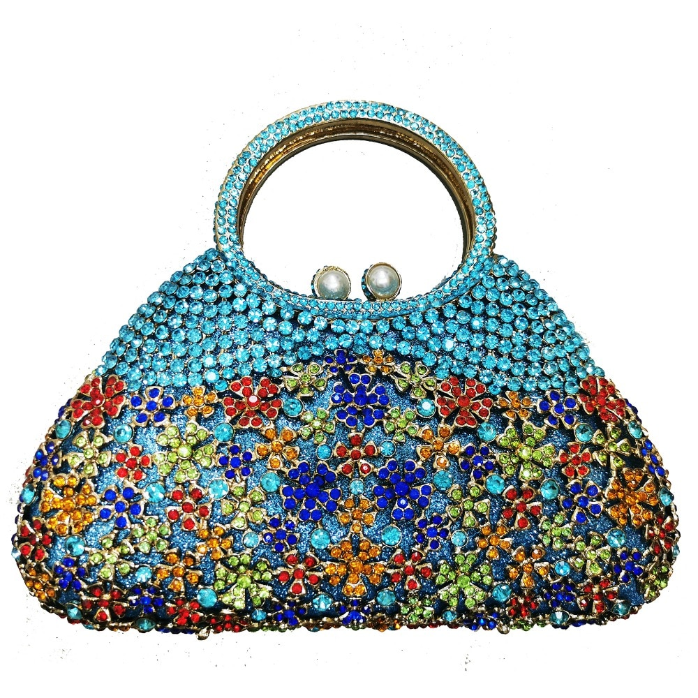 حقيبة يد نسائية من الكريستال وحجر الراين ، حقيبة سهرة ، حقيبة كتف ، سلسلة
