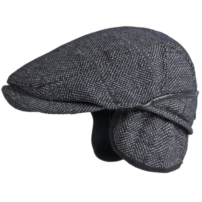 HT3718 Beret Cap Men Autumn Winter Hat Plaid Earflap Flat Cap Vintage Ivy Newsboy Cap for Men Artist