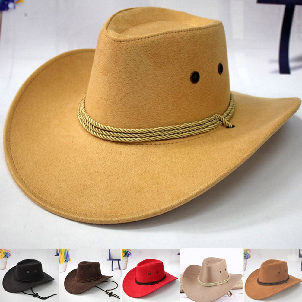 Nuevo sombrero de cowboy del oeste gorra de montar para hombre accesorio de moda de ala ancha triturable engarzado regalo VN 68