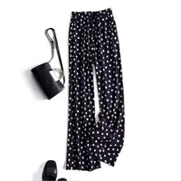 black and white floral love wide leg pants womens high waist drape chiffon loose summer thin casual straight mopping pants