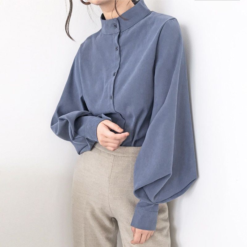 Big Lantern Sleeve Blouse Women Autumn Spring Single Breasted Stand Collar Shirts Office Work Blouse