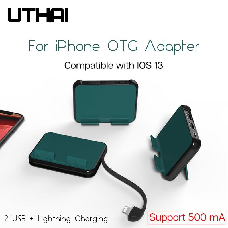 Uthai C48 para iPhone OTG adaptador Lightning a 2USB soporte convertidor de carga para ratón U disco de IOS13 iPad iPhone X 11 7 8 XR