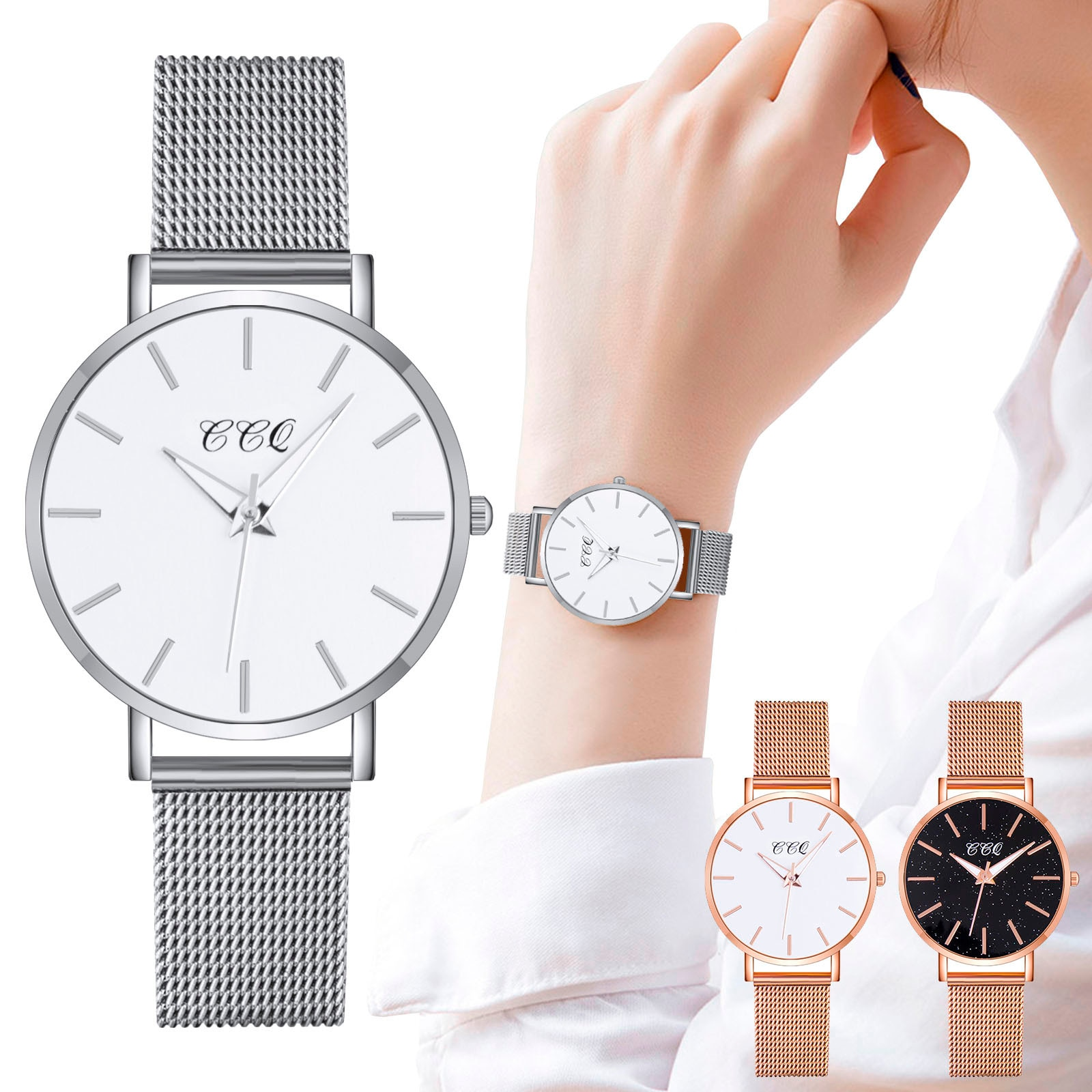 CCQ Brand Minimalist Quartz Watch without Numerals Scale Stainless Steel Dial Watches for Women Ladies Wristwatch Montre Femme