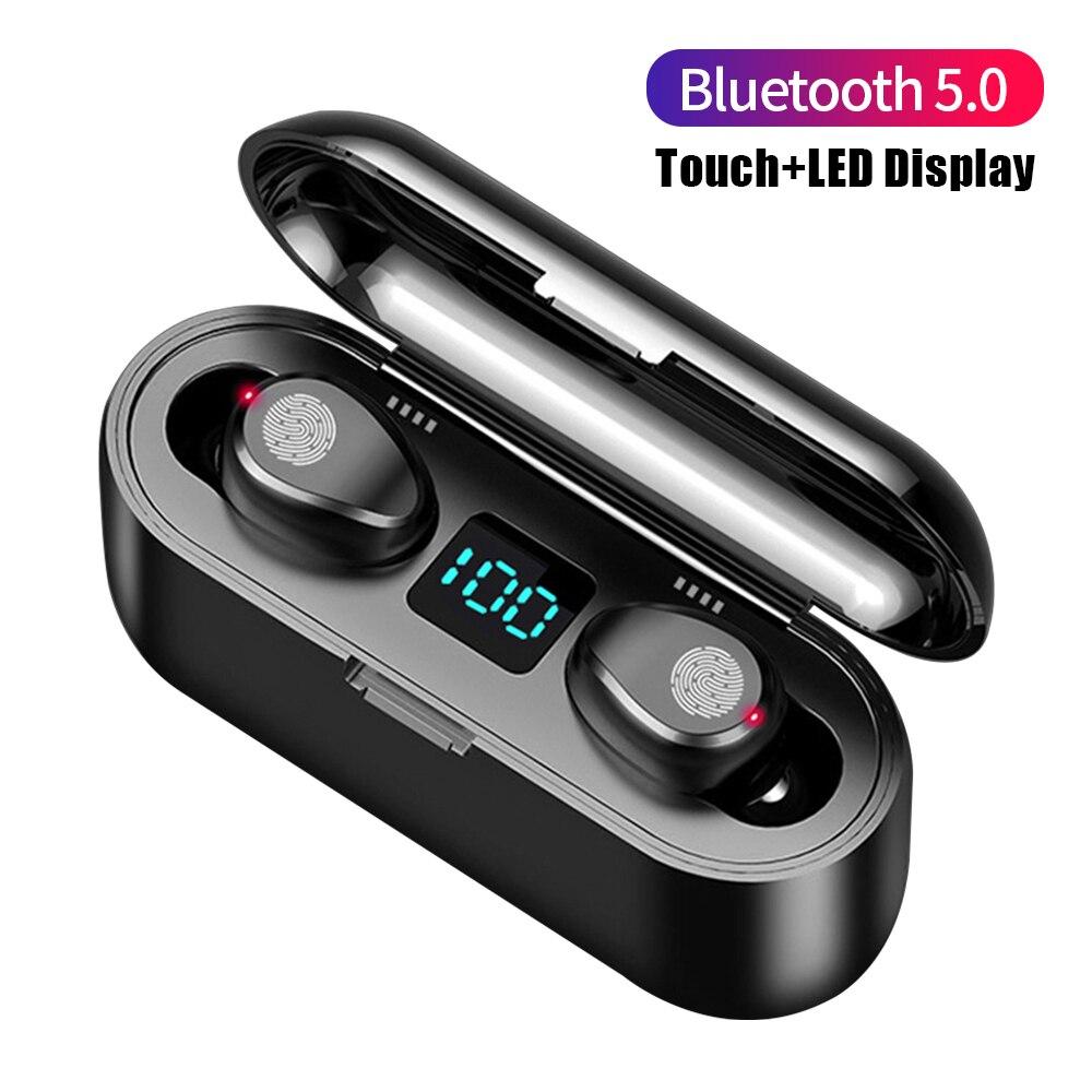 F9 TWS Bluetooth Drahtlose Kopfhörer Kopfhörer LED Display Touch Control Kopfhörer Sport Headset Mit Mikrofon Gaming Ohrhörer
