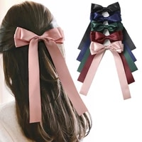 ncmama fashion stacked satin ribbon french barrettes hair clips for women summer bow hairpin hair accessories ladies hair clips