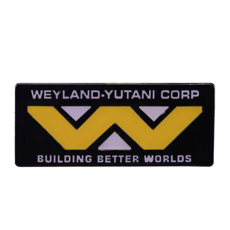 Weyland yutani corp broche construção melhores mundos esmalte pino com logotipo distintivo jóias