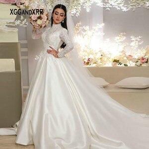 Elegant Satin Wedding Dress 2021 High Neck Long Sleeves Bridal Gown Lace Applique Chapel Train Lace Applaique Dubai Bride Dresse