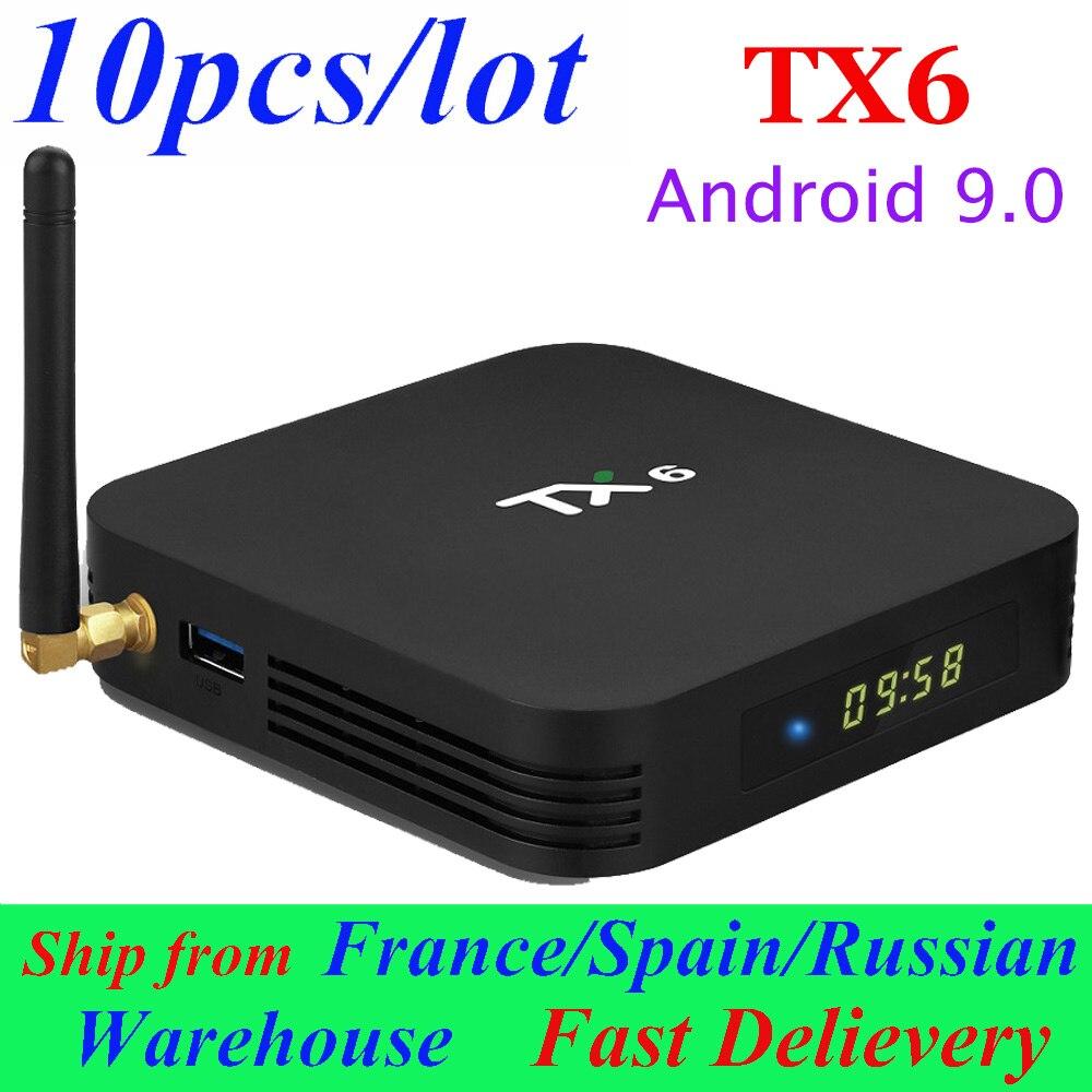10 sztuk/partia TX6 tv box z androidem smart box Android 9.0 tv, pudełko 2 GB/16 GB 4 GB/32 GB 4 GB/64G Allwinner H6 4K zestaw top odtwarzacz multimedialny box