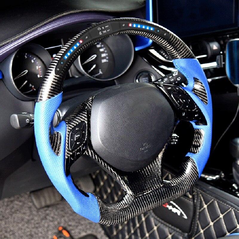 Volant de course en cuir de fibre de carbone LED pour Toyota Crown Highlander Fortuner Corolla 2001 2003 2004 2005 2007 2009-2020