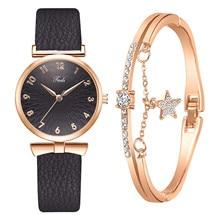 Jewelry Sets Women Watch Wristwatch Set Leather Belt Luxury Diamond Quartz Watch Ladies Bracelet rel