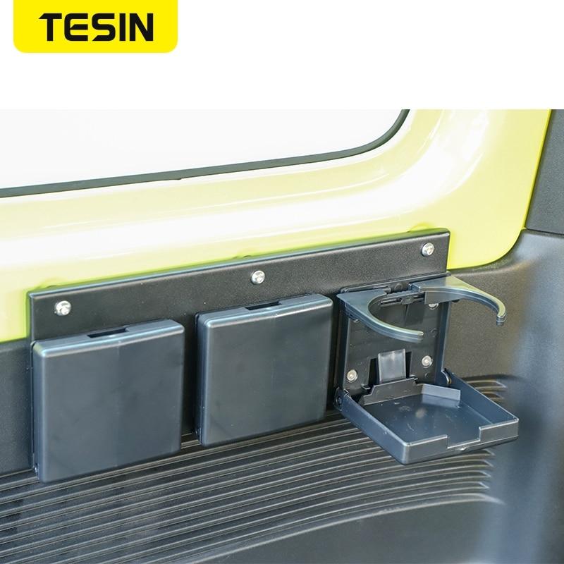 TESIN Car Interior Rear Row Water Cup Holder Drinkes Mount Bracket Support for Suzuki Jimny JB74 2019 2020 2021 Car Accessories enlarge
