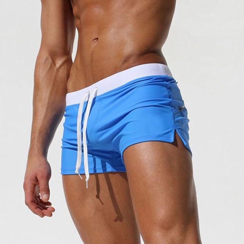 Мужские дышащие плавки, модные плавки, облегающие однотонные пляжные шорты, мужские быстросохнущие спортивные шорты для серфинга, 2021