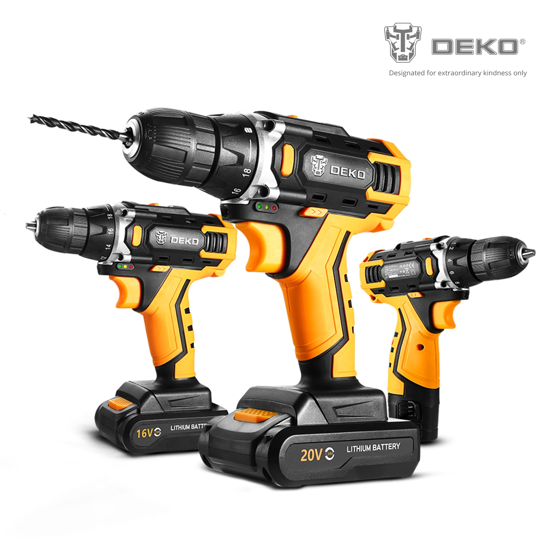 DEKO 12/16/20V MAX Cordless Drill Electric Screwdriver,18+1 Torque Settings,2-Speeds,3/8