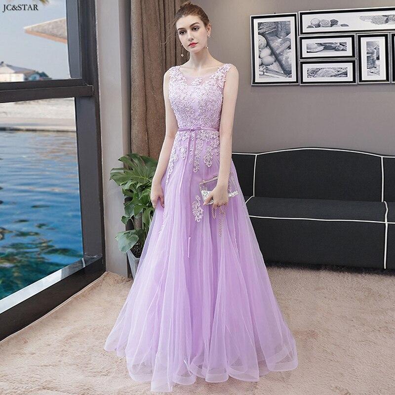 Vestido lila de encaje con cuentas en la espalda para dama de...