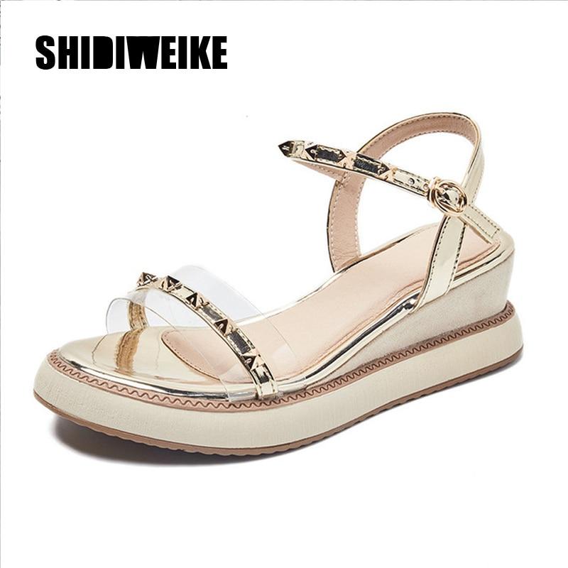 Women Sandals 2020 Summer Designer Casual Gold Silver High Heels Wedges Rivet Sandals Open Toe Heels Sandals R200
