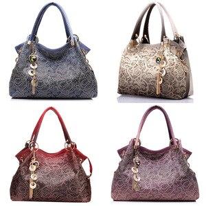 ASDS-Female Bags for Women Hollow Out Handbags Floral Print Shoulder Bags Ladies Tote Bag Female Tassel Handbag