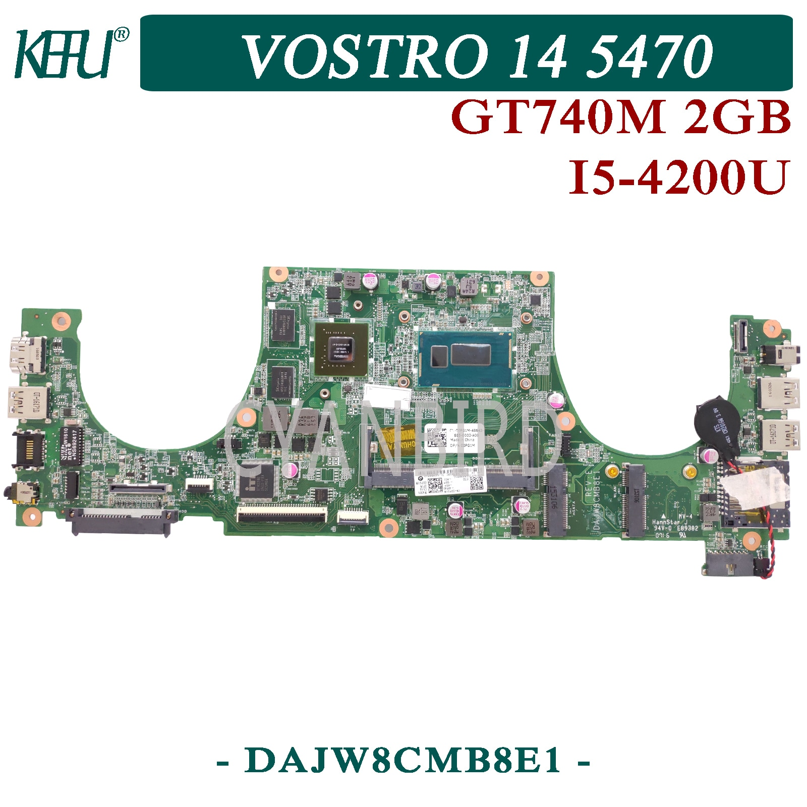 KEFU DAJW8CMB8E1 اللوحة الرئيسية الأصلية لديل Vostro 14-5470 DDR3L مع I5-4210U/4200U GT740M-2GB اللوحة الأم للكمبيوتر المحمول