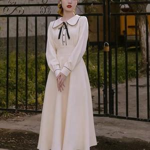 Vintage Long Princess Dress Women Spring Autumn Khaki Long Sleeve Female Elegant A Line Ladies Midi Dress 2021
