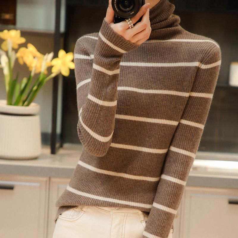 2021 woman winter 100% Cashmere sweaters knitted Pullovers jumper Warm Female Turtleneck blouse striped long sleeve clothing enlarge