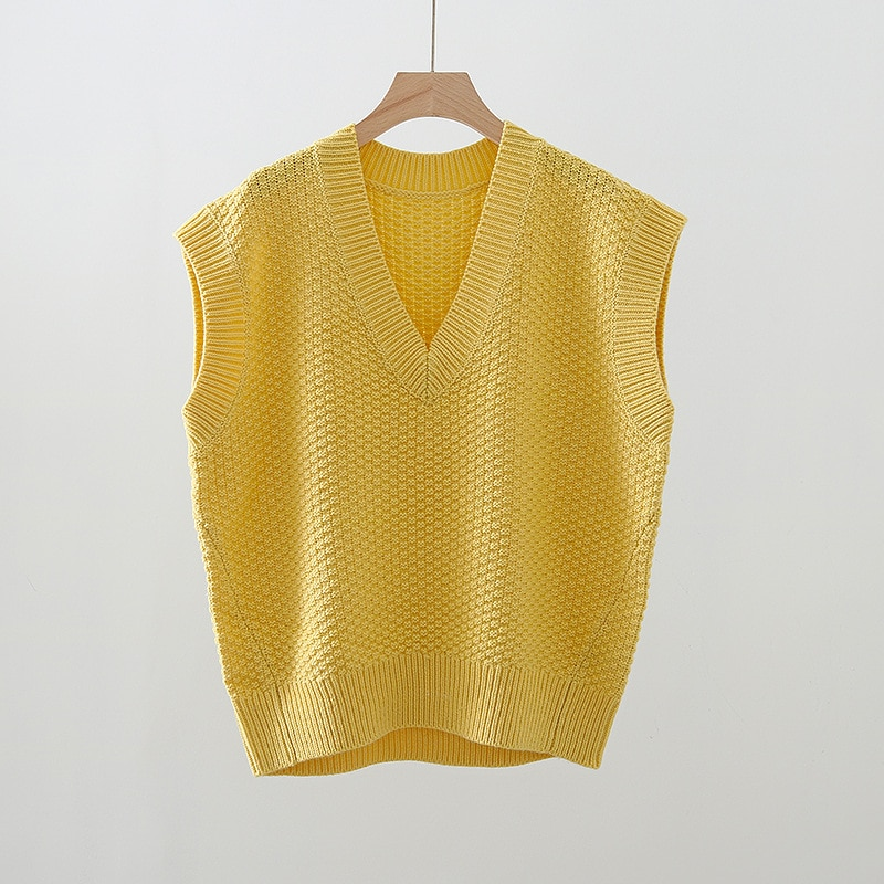 Vest Women Casual Style 100% Wool Knitted V Neck Sleeveless Solid High Quality Pullover Loose Lady Vest New Fashion enlarge