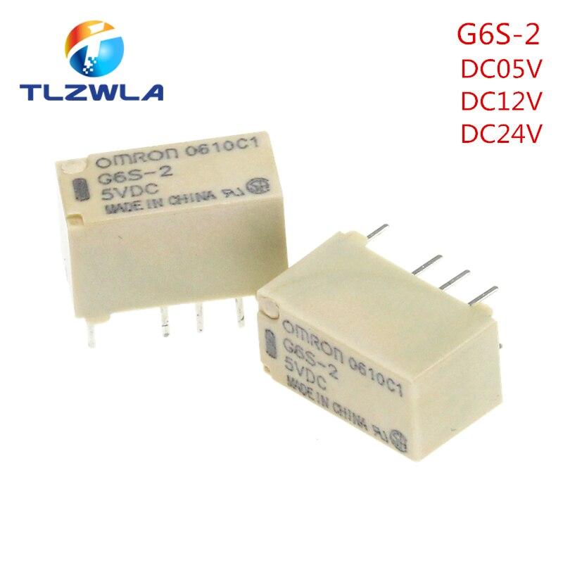 100 قطعة اومرون G6S-2 DC5V/12V/24V PCB جبل 2-القطب 8Pin البسيطة إشارة التبديل التتابع