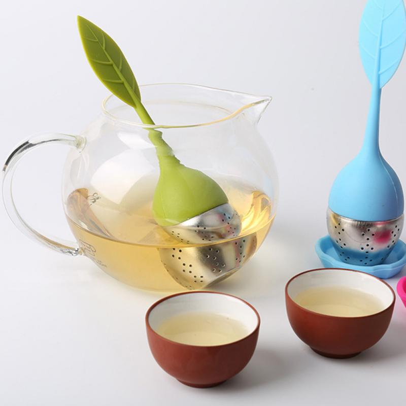 Uds.-colador reutilizable de silicona para infusiones de té, bandeja de gota, Bola...