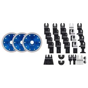 New 31 PCS Oscillating Saw Blades, Premium Multitool Blades Kit & 3Pcs 125Mm Turbo Diamond Circular Saw Blade Disc