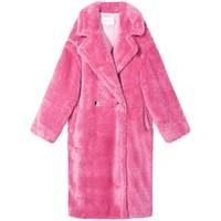 cute winter thick warm girl pink teddy plush medium length wool coat solid fashion high quality jacket outwear windbreaker 9837