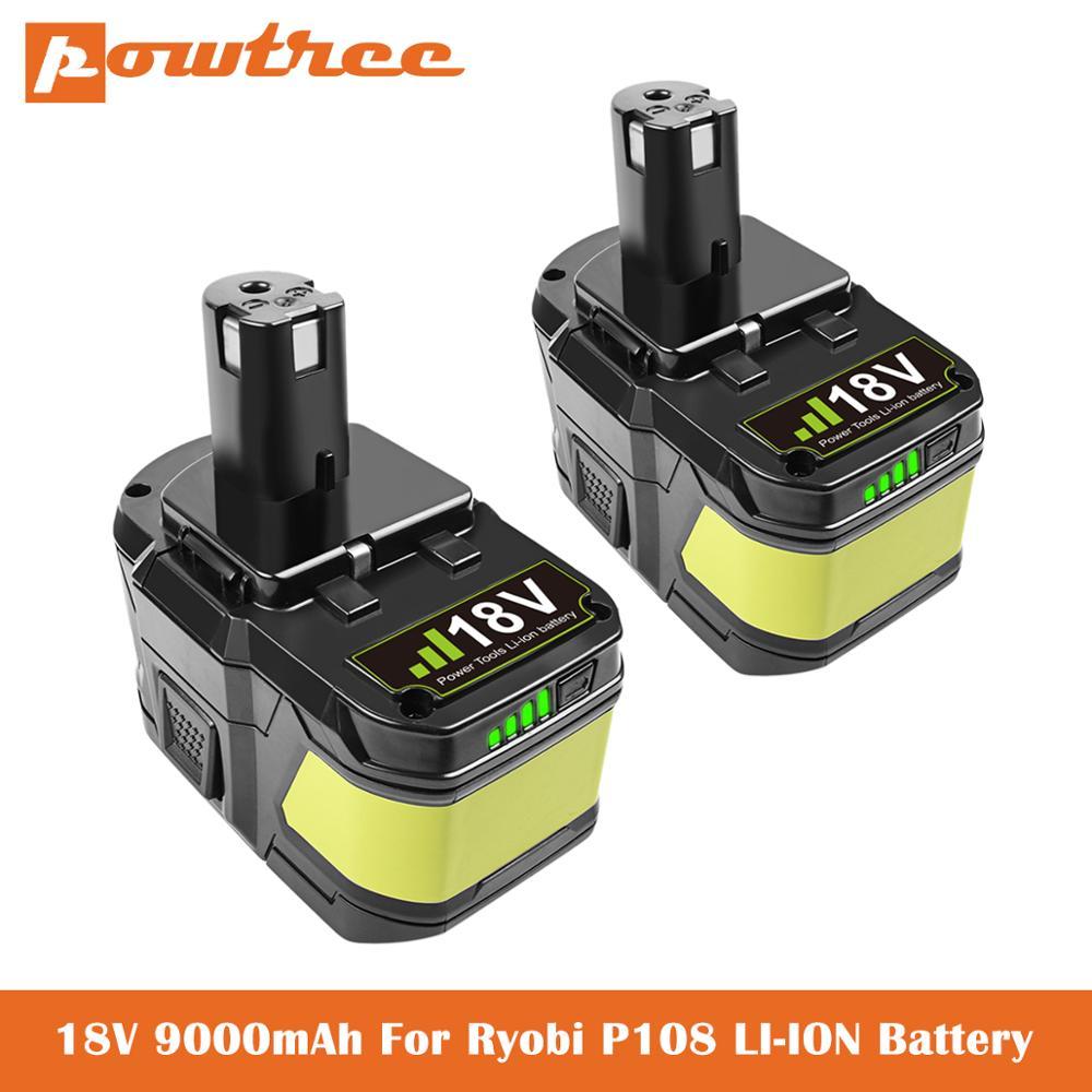 18V 9.0Ah batería de repuesto para la batería Ryobi P104 P105 P102 P103 P107 P109 P108 P100 RB18L26 de Litio-ion cordless batería de la herramienta L70