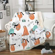 Couverture jeter de paresseux Sherpa Animal   Couverture polaire pour les enfants, couverture en fourrure, couverture en peluche pour le lit, couvre-lits Super doux
