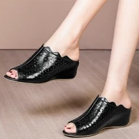 punk slippers women genuine leather wedges high heel gladiator sandals female summer open toe mules low top pumps casual shoes