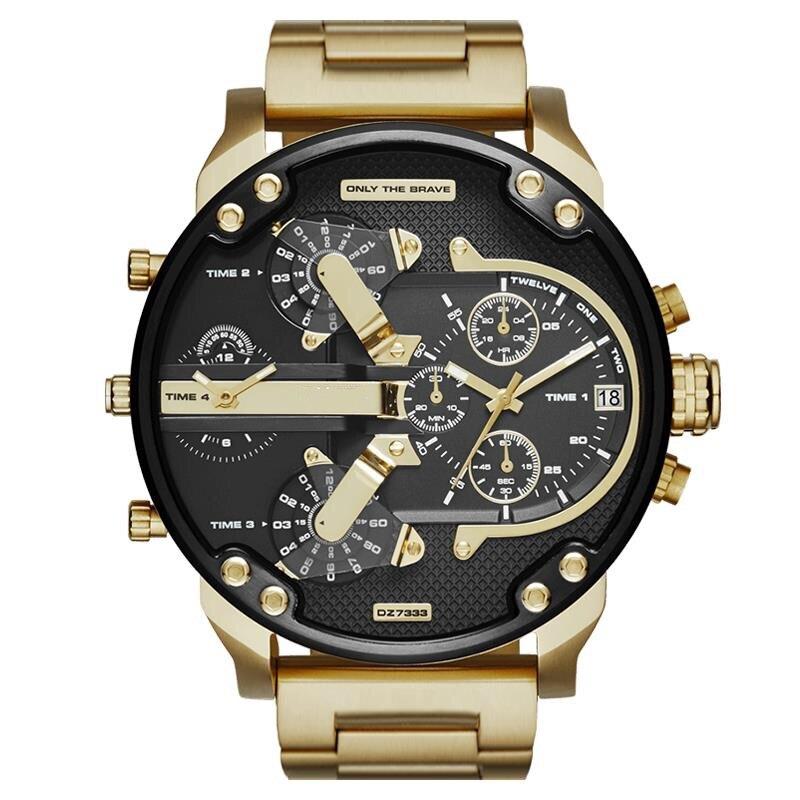 Luxury brand DZ 7333 gold men's watch fashion style dress wristwatches stainless steel strap quartz