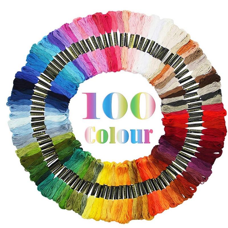 100 pçs linha de bordado diy linha de seda ramo semelhante dmc fios artesanato ponto costura algodão skein bordado cruz kit