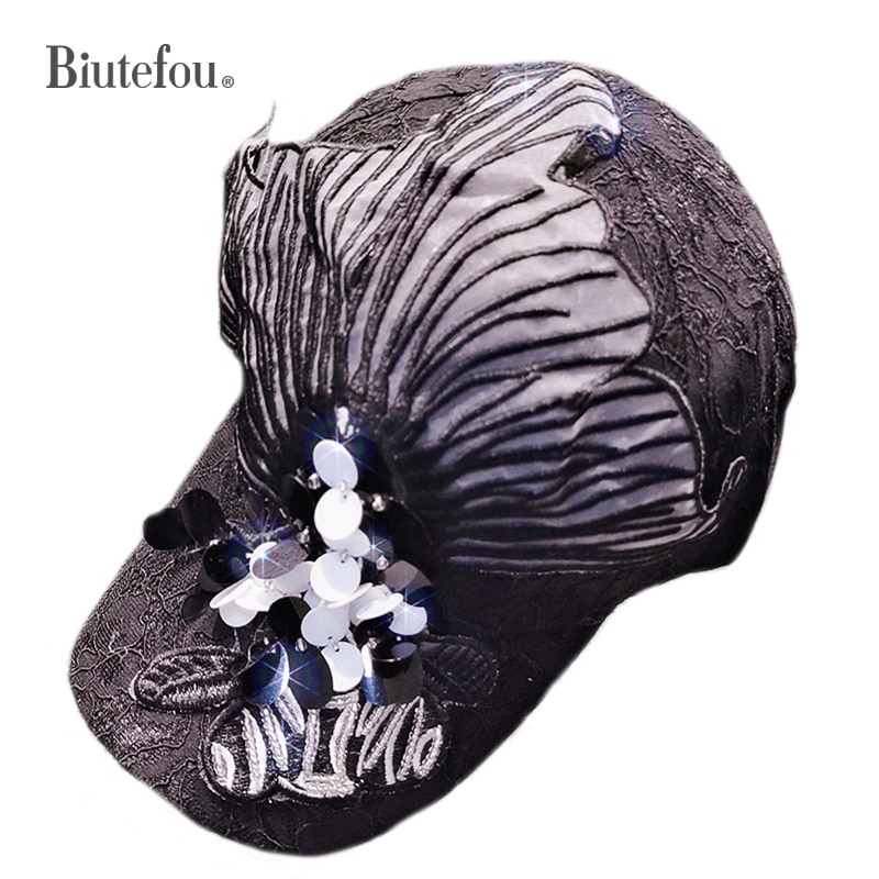 New Arrival Women Embroidery Lace 3D Sequins Rhinestone Baseball Cap