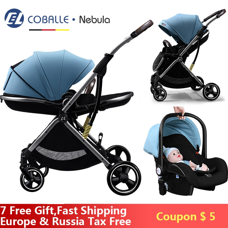 Baby Stroller 3 In 1 Portable Pram Lightweight High Landscape Aluminum Frame Baby Carriage With Carseat For Newborn No Tax In EU