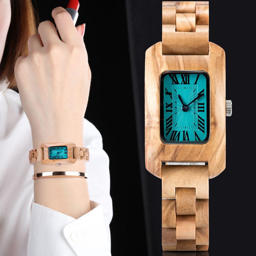 Bobobird relógio de madeira senhoras quartzo relógios de pulso marca luxo feminino montre bois femme na caixa madeira