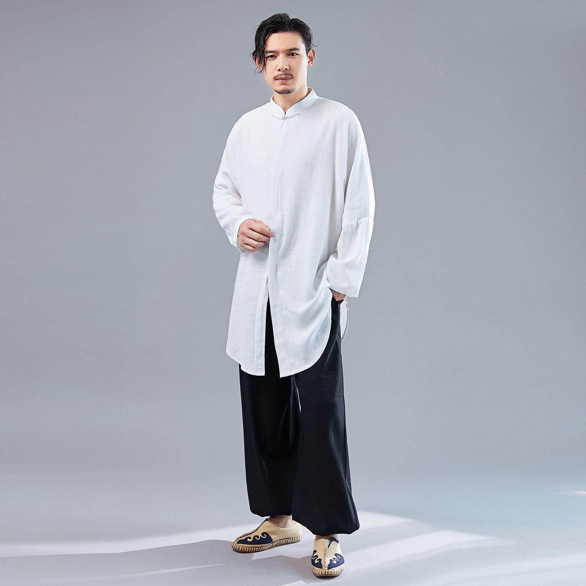 New Chinese Style Arc Bat Shirt Men's Clothing Creative Retro Personality Cardigan Installed xiu xian kuan Linen Meditation