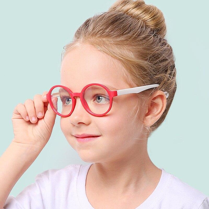 Zerosun gafas de ordenador niñas niños gafas redondas niños silicona protección de ojos bloqueo luz azul UV400 funda gratis