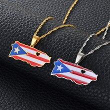 Anniyo coeur porto Rico carte et couleur drapeau pendentif colliers couleur or/argent couleur PR portoricains bijoux cadeaux #165521