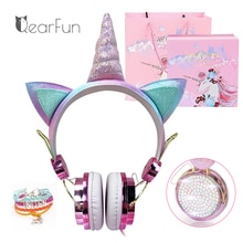 Cute Unicorn Wired Headphone With Microphone Girls Daugther Music Stereo Earphone Computer Mobile Ph